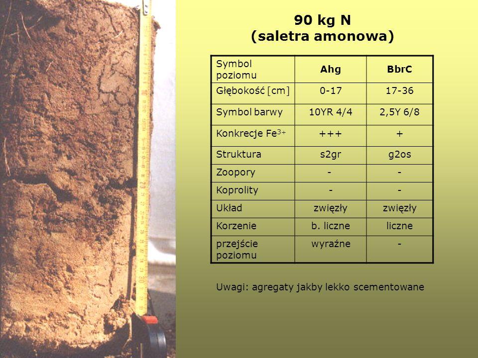 90 kg N (saletra amonowa) Symbol poziomu Ahg BbrC Głębokość [cm] 0-17